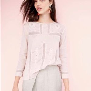 Jcrew Light Pink Embroidered Blouse